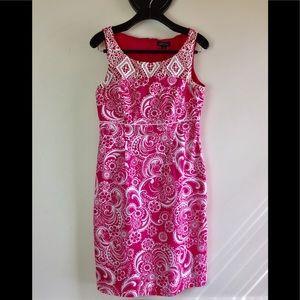 Tahiti Hot paisley pink cotton shift dress 8 NWOT